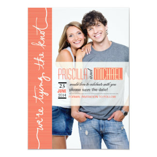 Modern Lines Photo Save the Date coral Card