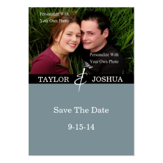 Modern Lines Slate Blue Photo Save The Date #2 Large Business Cards (Pack Of 100)