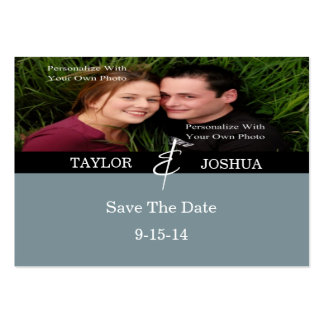 Modern Lines Slate Blue Photo Save The Date Card Large Business Cards (Pack Of 100)