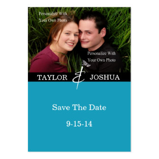 Modern Lines Vibrant Teal Photo Save The Date #2 Large Business Cards (Pack Of 100)