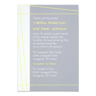 Modern Lines Yellow-3x5 Wedding & Reception Invite