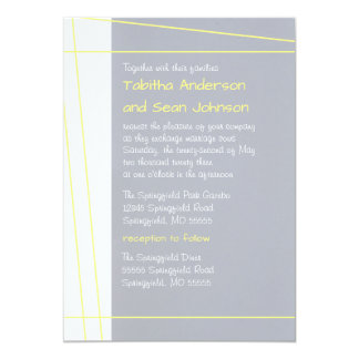Modern Lines Yellow - Wedding & Reception Invite