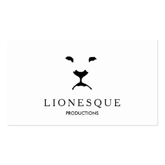 Modern Lion Logo Video and Film Production White Business Card Template