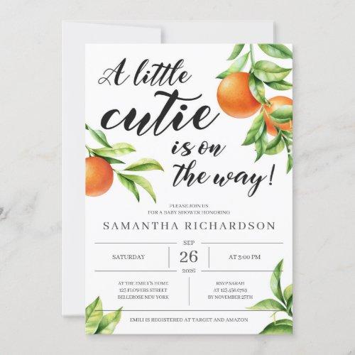 Modern little cutie is on the way orange baby girl invitation