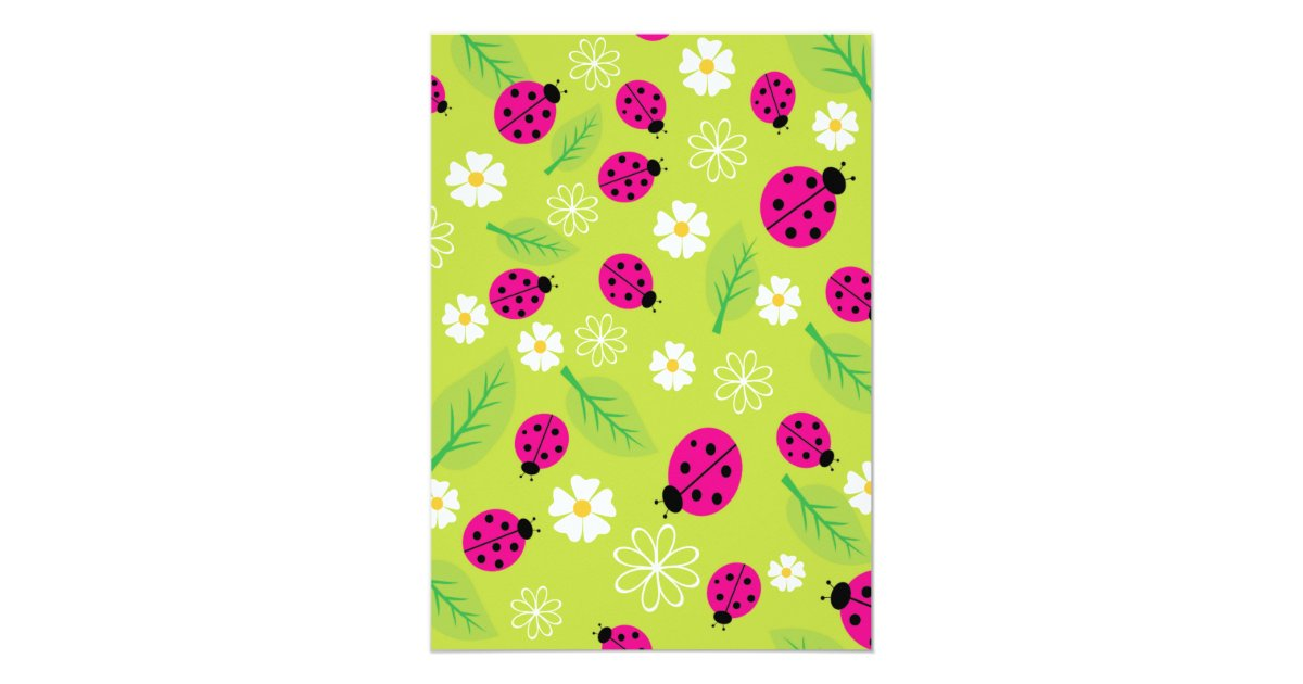 modern little lady pink ladybug baby shower card zazzle