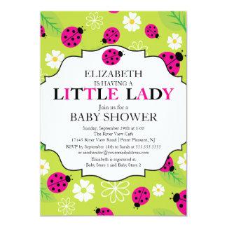 Modern Little Lady Pink Ladybug Baby Shower Custom Invitations