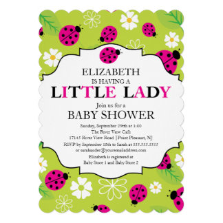 Modern Little Lady Pink Ladybug Baby Shower Personalized Announcements