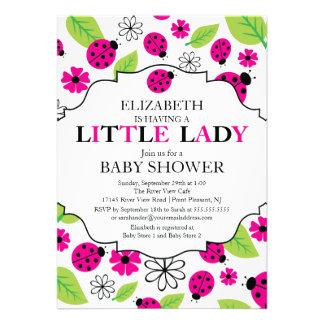Modern Little Lady Pink Ladybug Baby Shower Custom Announcements