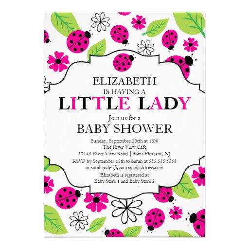 modern little lady pink ladybug baby shower 5 x 7 invitation card