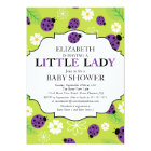 Modern Little Lady Purple Ladybug Baby Shower Card