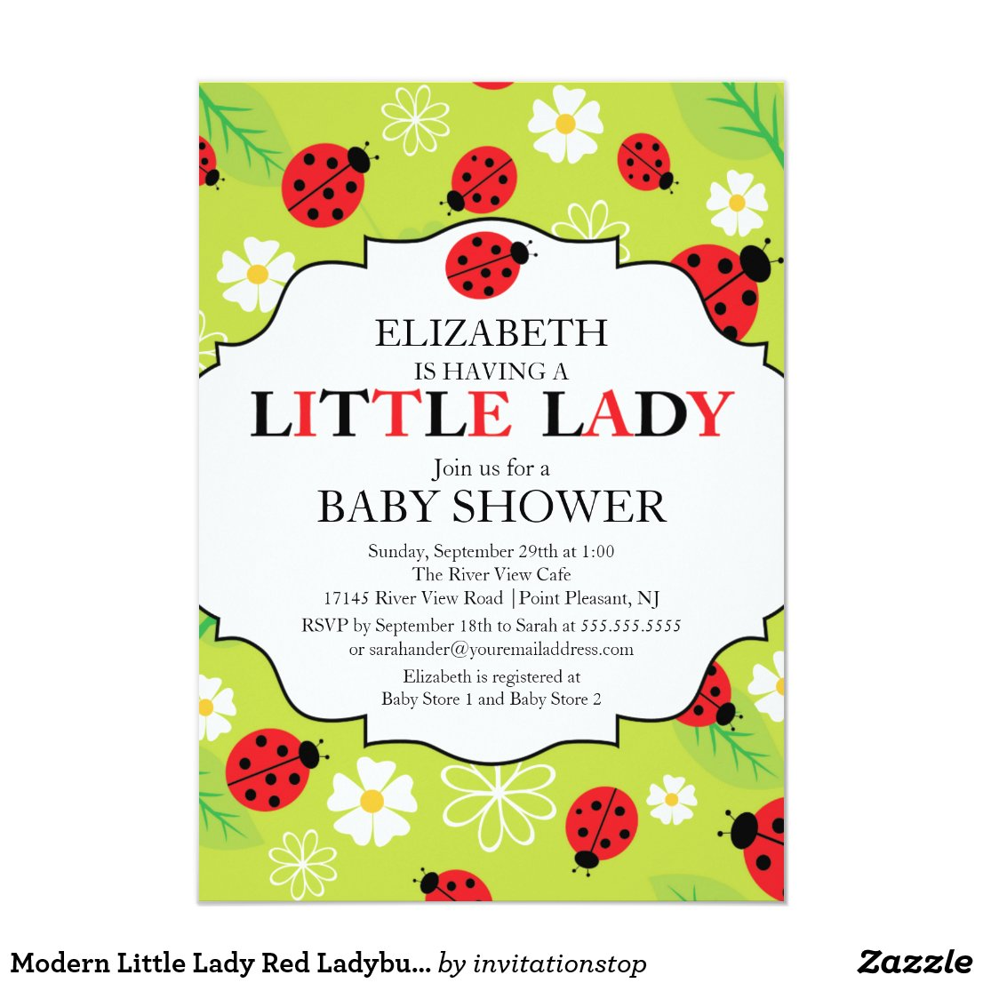 Modern Little Lady Red Ladybug Baby Shower Card