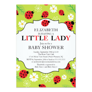 Modern Little Lady Red Ladybug Baby Shower 5x7 Paper Invitation Card