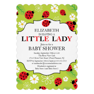 Modern Little Lady Red Ladybug Baby Shower Invite