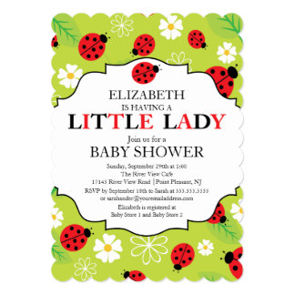 Modern Little Lady Red Ladybug Baby Shower Invite