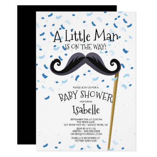 Modern  Little Man Mustache Baby Shower Invitation