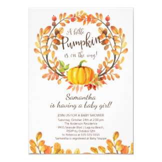 Modern Little Pumpkin Baby Shower Invitation