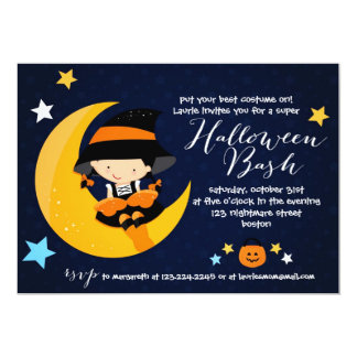Modern Little Witch Halloween Bash Costume Party Card