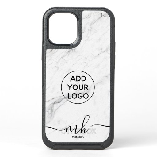 Modern logo branding chic white marble monogram OtterBox symmetry iPhone 12 case