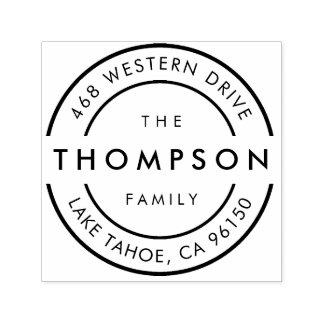 Modern Logo | Family Name Return Address Self-inking Stamp