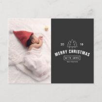 Modern Logo Newborn Baby Christmas Holiday Postcard
