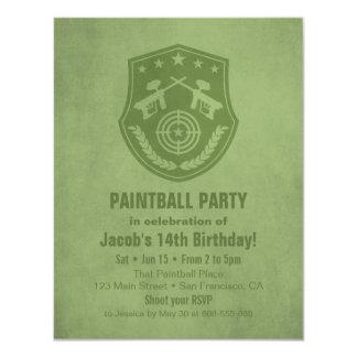 Modern Logo Paintball Birthday Party Invitations