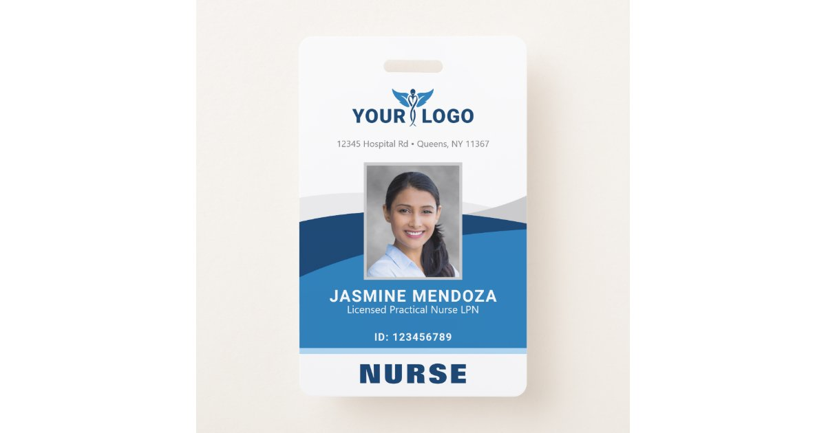 Modern Logo Template Employee Photo Name Nurse Id Badge Zazzle Com