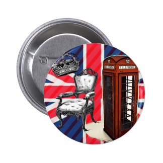 modern london telephone booth british flag pinback button