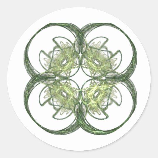 Modern Look Four Leaf Clover Fractal Art Classic Round Sticker
