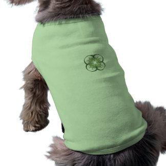 Modern Look Four Leaf Clover Fractal Art Dog Tee