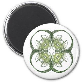 Modern Look Four Leaf Clover Fractal Art Fridge Magnet