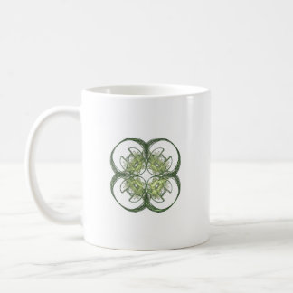Modern Look Four Leaf Clover Fractal Art Classic White Coffee Mug