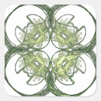 Modern Look Four Leaf Clover Fractal Art Square Sticker