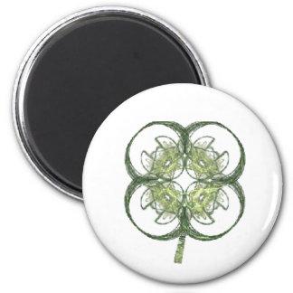 Modern Look Four Leaf Clover Fractal Art with Stem 2 Inch Round Magnet