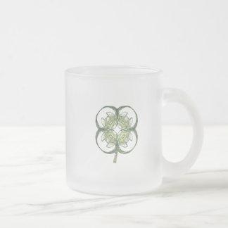 Modern Look Four Leaf Clover Fractal Art with Stem 10 Oz Frosted Glass Coffee Mug