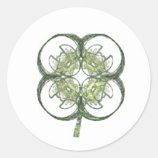 Modern Look Four Leaf Clover Fractal Art with Stem Classic Round Sticker