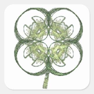 Modern Look Four Leaf Clover Fractal Art with Stem Square Sticker