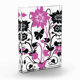 Modern look vibrant pink black and white  floral d award