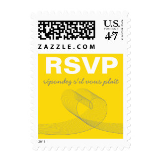 Modern Loopy Love Lines Yellow Wedding RSVP Stamps