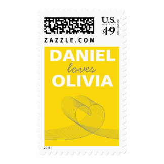 Modern Loopy Love Lines Yellow Wedding Stamps