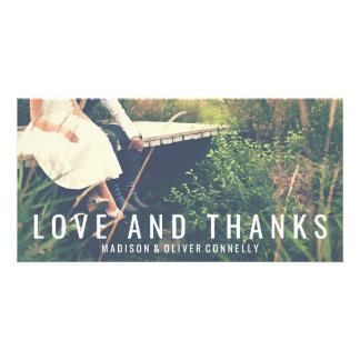 Modern Love And Thanks Bold Typography Wedding Card