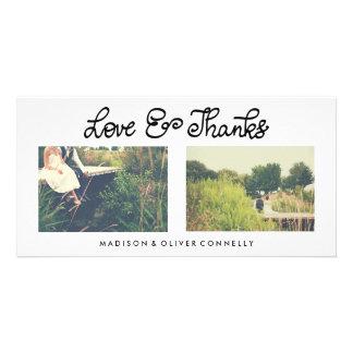 Modern Love And Thanks Handwritten Wedding Card