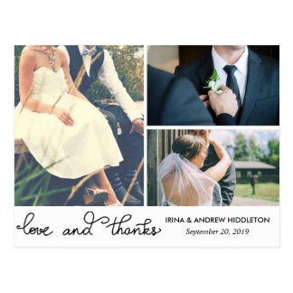 Modern Love And Thanks Script Three Wedding Photos Postcard