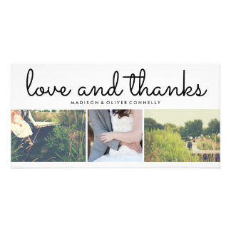 Modern Love And Thanks Wedding Three Photo Collage Card
