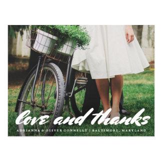 Modern Love And Thanks Whimsical | Couple Photo Postcard