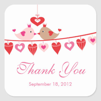 Modern Love Bird Hearts Bridal Shower Thank You Square Stickers