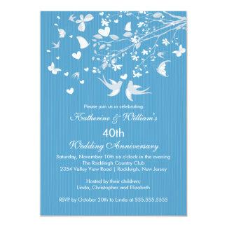"Modern Love Birds Anniversary Party Invitation 5"" X 7"" Invitation Card"