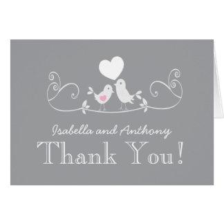 Modern Love Birds Baby Shower Thank You Note Card