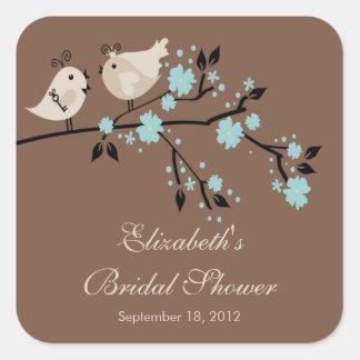 Modern Love Birds Bridal Shower Square Sticker