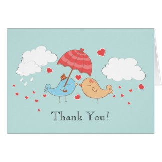 Modern Love Birds Bridal Shower Thank You Note Stationery Note Card