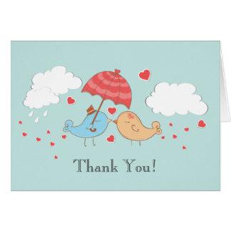 Modern Love Birds Bridal Shower Thank You Note Card